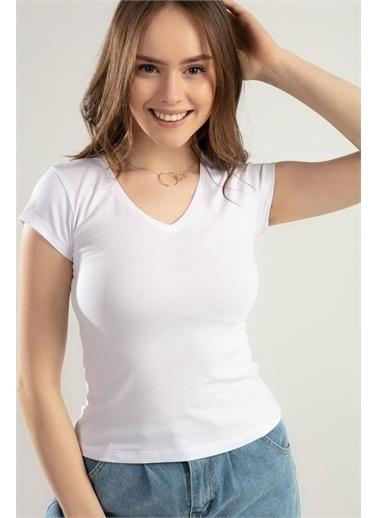 Pattaya Pattaya Kadın V Yaka Basic Tişört Y20S126-10536 Renkli